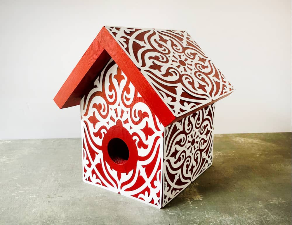 diy painted stenciled birdhouse