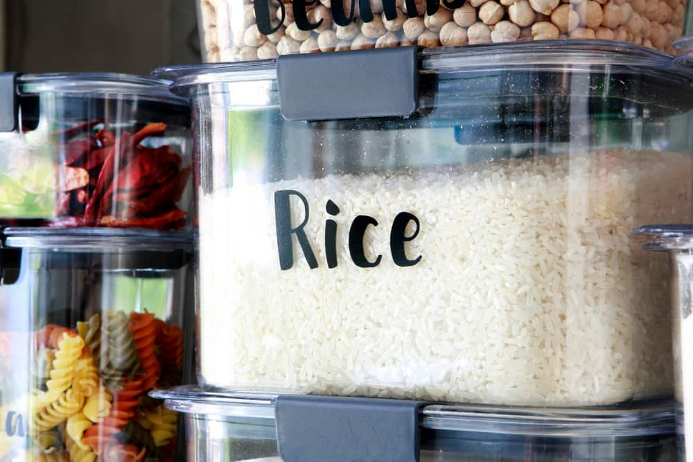 vinyl rice label made with cricut for pantry cannisters