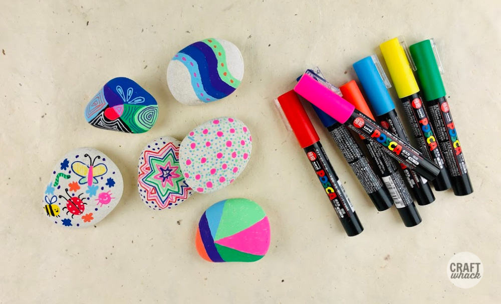 decorated rocks with posca pens