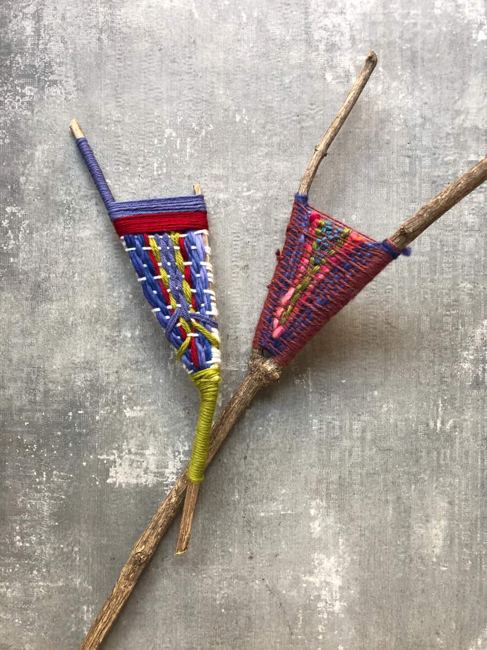 yarn woven branches with different colors