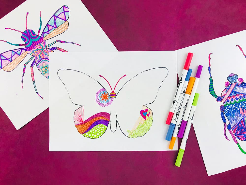 zentangle insects to print out and doodle in