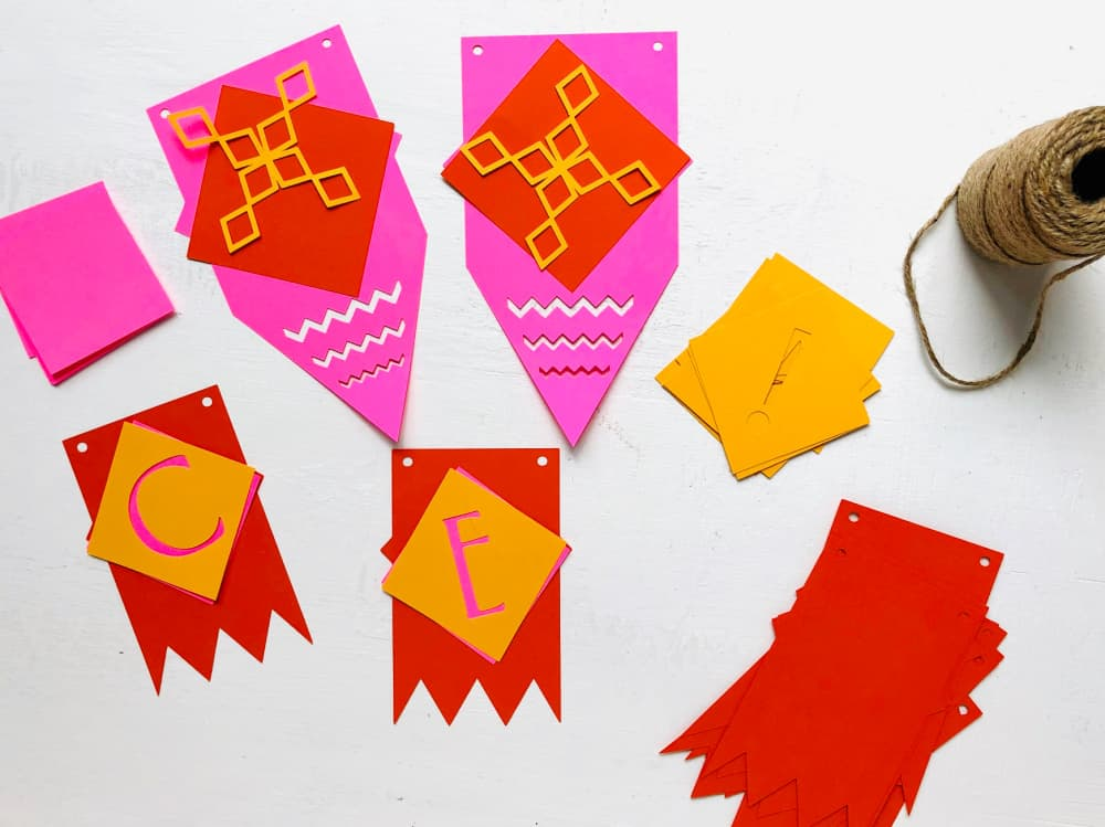 paper banner pieces
